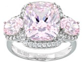 Pink & White Cubic Zirconia Rhodium Over Sterling Silver 3 Stone Ring 12.80ctw