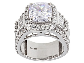 White Cubic Zirconia Rhodium Over Sterling Silver Ring 10.96ctw