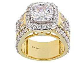 White Cubic Zirconia 18K Yellow Gold Over Sterling Silver Ring 10.96ctw