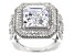White Cubic Zirconia Rhodium Over Sterling Silver Center Design Ring 13.25ctw