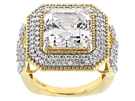 White Cubic Zirconia 18K Yellow Gold Over Sterling Silver Center Design Ring 13.52ctw