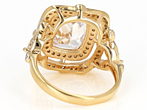 White Cubic Zirconia 18K Yellow Gold Over Sterling Silver Center Design Ring 8.05ctw