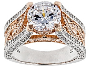 White Cubic Zirconia 18k Rose Gold & Rhodium Over Sterling Silver Center Design Ring