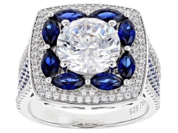 Picture of Lab Created Sapphire & White Cubic Zirconia Rhodium Over Sterling Silver Ring 7.13ctw