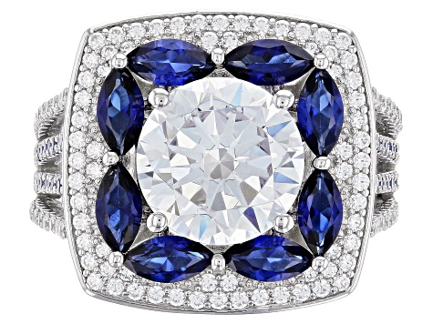 Lab Created Sapphire & White Cubic Zirconia Rhodium Over Sterling Silver Ring 7.13ctw