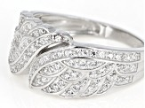 White Cubic Zirconia Rhodium Over Sterling Silver Angel Wing Ring 1.09ctw