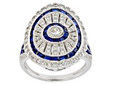Lab Blue Spinel & White Cubic Zirconia Rhodium Over Silver Ring