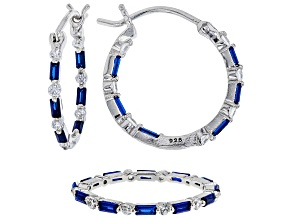 Synthetic Blue Spinel & White Cubic Zirconia Rhodium Over Silver Earrings & Ring Set