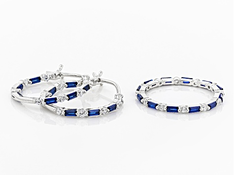 Lab Blue Spinel & White Cubic Zirconia Rhodium Over Silver Earrings & Ring Set