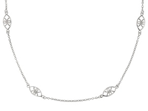 White Cubic Zirconia Rhodium Over Sterling Silver Necklace 0.56ctw