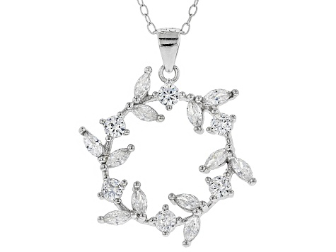 White Cubic Zirconia Rhodium Over Sterling Silver Pendant With Chain 1.86ctw