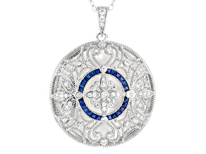 White Cubic Zirconia Blue Synthetic Spinel White Mother of Pearl Rhodium Over Sterling Pendant