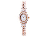 Cubic Zirconia 18K Rose Gold Over Sterling Silver Watch 20.84ctw.