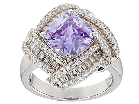 Purple & White Cubic Zirconia Rhodium Over Sterling Silver Center Design Ring 6.44ctw