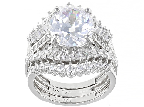 White Cubic Zirconia Rhodium Over Silver Ring With Two Guards & Band 11.71ctw