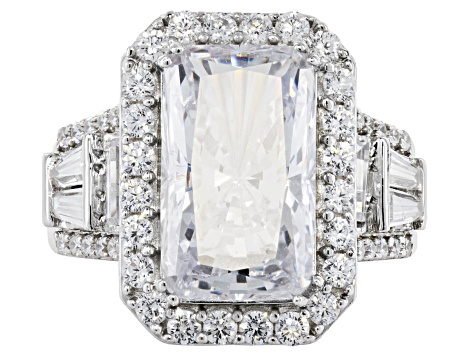 White Cubic Zirconia Rhodium Over Sterling Silver Center Design Ring 14.83ctw