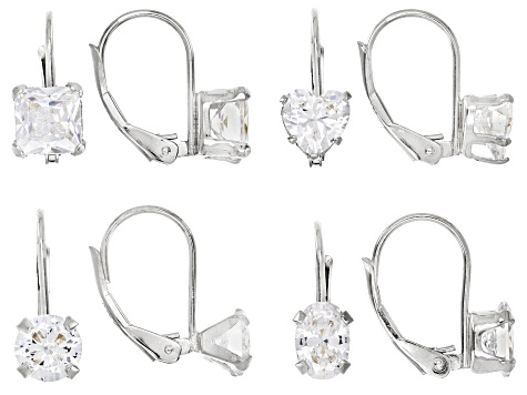 White Cubic Zirconia Rhodium Over Sterling Silver Center Design Earrings Set Of 4