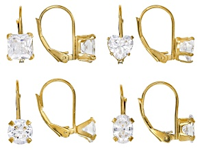 White Cubic Zirconia 18K Yellow Gold Over Sterling Silver Center Design Earrings Set Of 4