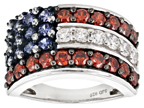 Blue, Red, & White Cubic Zirconia Rhodium Over Sterling Silver Cluster Ring 4.11ctw