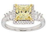 Yellow & White Cubic Zirconia Rhodium Over Sterling Silver Center Design Ring 3.14ctw