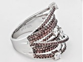 Brown And White Cubic Zirconia Silver Cluster Ring 3.23ctw