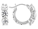 White Cubic Zirconia Rhodium Over Sterling Silver Earrings 3.15CTW