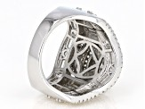 White Cubic Zirconia Rhodium Over Sterling Silver Cluster Ring 6.65ctw