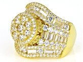 White Cubic Zirconia 18k Yellow Gold Over Sterling Silver Cluster Ring 6.65ctw