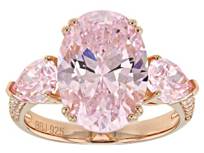 Pink & White Cubic Zirconia 18K Rose Gold Over Sterling Silver Ring 12.96CTW