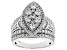 White Cubic Zirconia Rhodium Over Sterling Silver Cluster Ring 4.77ctw