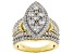 White Cubic Zirconia 18K Yellow Gold Over Sterling Silver Cluster Ring 4.77ctw