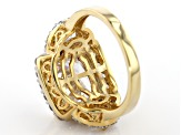 White Cubic Zirconia 18K Yellow Gold Over Sterling Silver Center Design Ring 10.80ctw