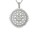 White Cubic Zirconia Rhodium Over Sterling Silver Pendant With Chain 3.44ctw