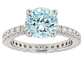 Blue & White Cubic Zirconia Rhodium Over Sterling Silver Center Design Ring 5.57ctw
