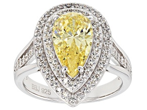 Yellow & White Cubic Zirconia Rhodium Over Sterling Silver Center Design Ring 5.14ctw
