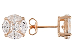 White Cubic Zirconia 18K Rose Gold Over Sterling Silver Earrings 4.32ctw