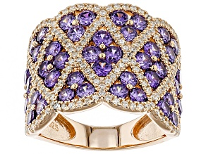 Purple White Cubic Zirconia 18K Rose Gold Over Sterling Silver Cluster Ring 6.84ctw