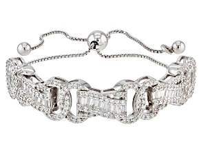 White Cubic Zirconia Rhodium Over Sterling Silver Bolo Bracelet 4.10ctw