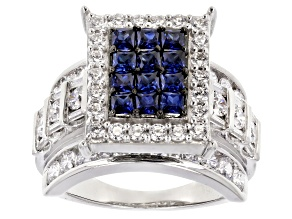 Blue & White Cubic Zirconia Rhodium Over Sterling Silver Cluster Ring 5.90ctw