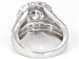 White Cubic Zirconia Rhodium Over Sterling Silver Center Design Ring 10.71ctw