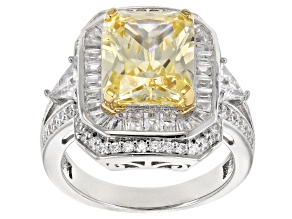 Yellow & White Cubic Zirconia Rhodium Over Sterling Silver Center Design Ring 8.95ctw