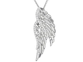 White Cubic Zirconia Rhodium Over Sterling Silver Angel Wing Pendant With Chain 1.52CTW