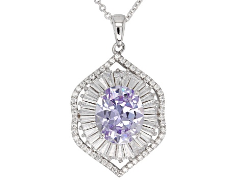 Purple And White Cubic Zirconia Rhodium Over Sterling Silver Pendant With Chain 10.50CTW