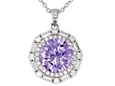 Purple And White Cubic Zirconia Rhodium Over Sterling Silver Pendant With Chain 8.15CTW
