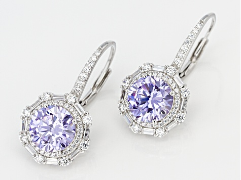 Purple And White Cubic Zirconia Rhodium Over Sterling Silver Earrings 8.82CTW