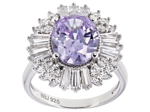 Purple & White Cubic Zirconia Rhodium Over Sterling Silver Center Design Ring 8.16ctw