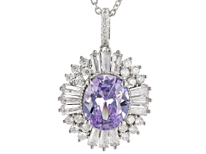 Purple & White Cubic Zirconia Rhodium Over Sterling Silver Center Design Pendant With Chain 8.80ctw
