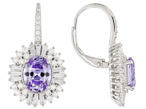 Purple & White Cubic Zirconia Rhodium Over Sterling Silver Earrings 10.87ctw