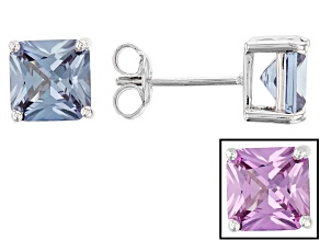 Lab Created Color Change Sapphire Rhodium Over Sterling Silver Earrings 3.95ctw