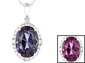 Lab Created Color Change Sapphire & White Cubic Zirconia Rhodium Over Silver Pendant With Chain